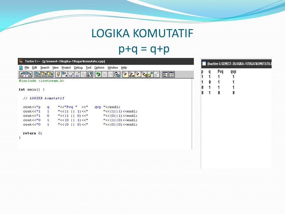 LOGIKA KOMUTATIF p+q = q+p