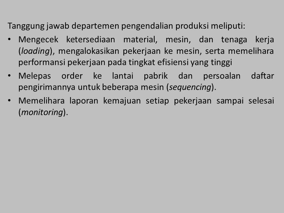 Tanggung jawab departemen pengendalian produksi meliputi: