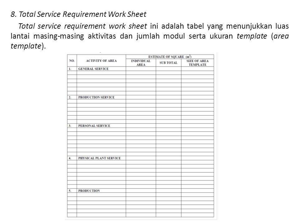 8. Total Service Requirement Work Sheet