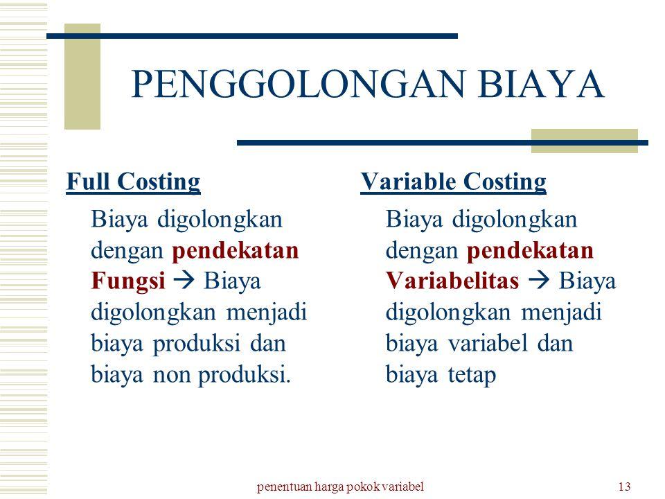 penentuan harga pokok variabel