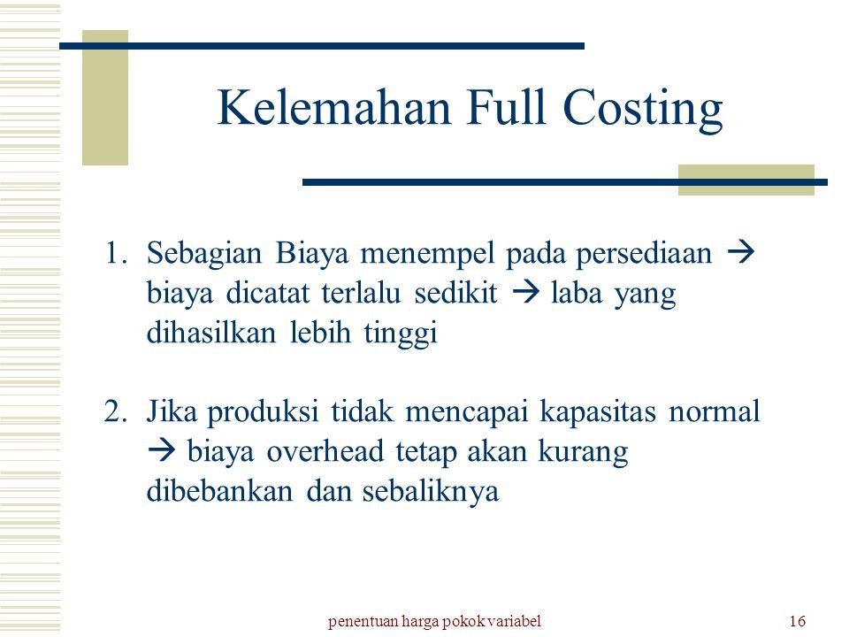 Kelemahan Full Costing
