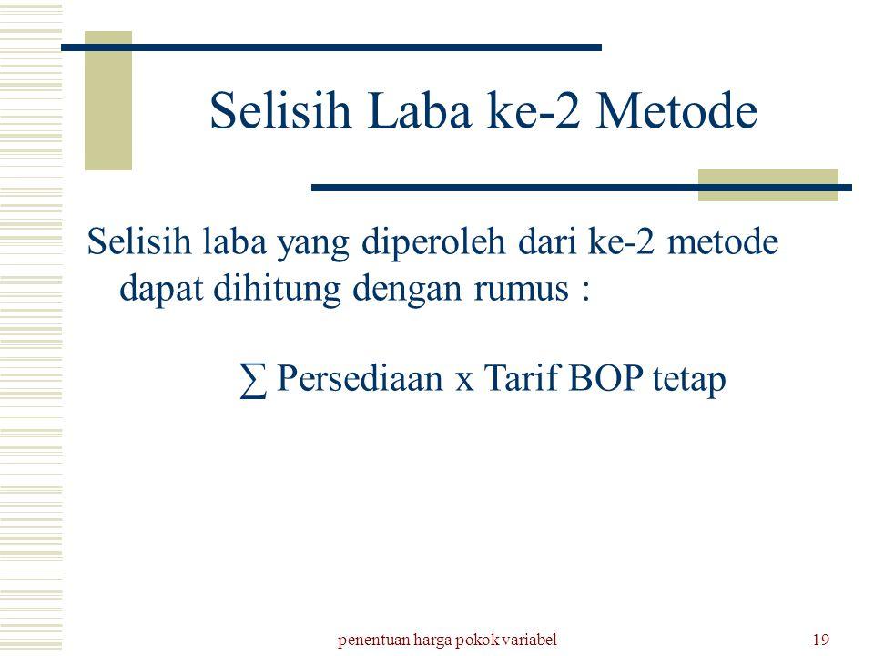 Selisih Laba ke-2 Metode