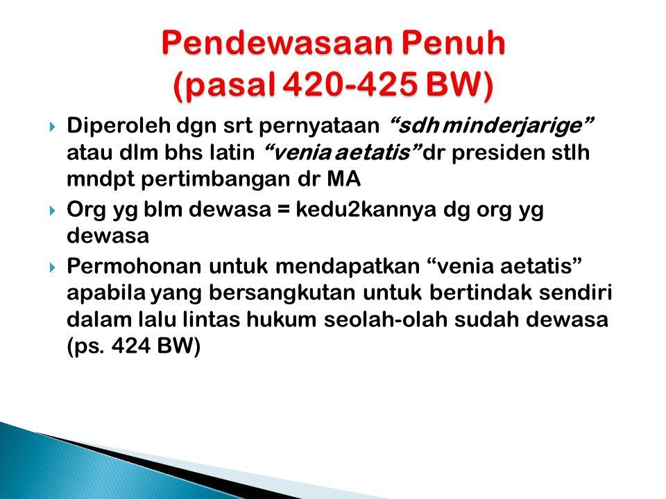 Pendewasaan Penuh (pasal 420-425 BW)