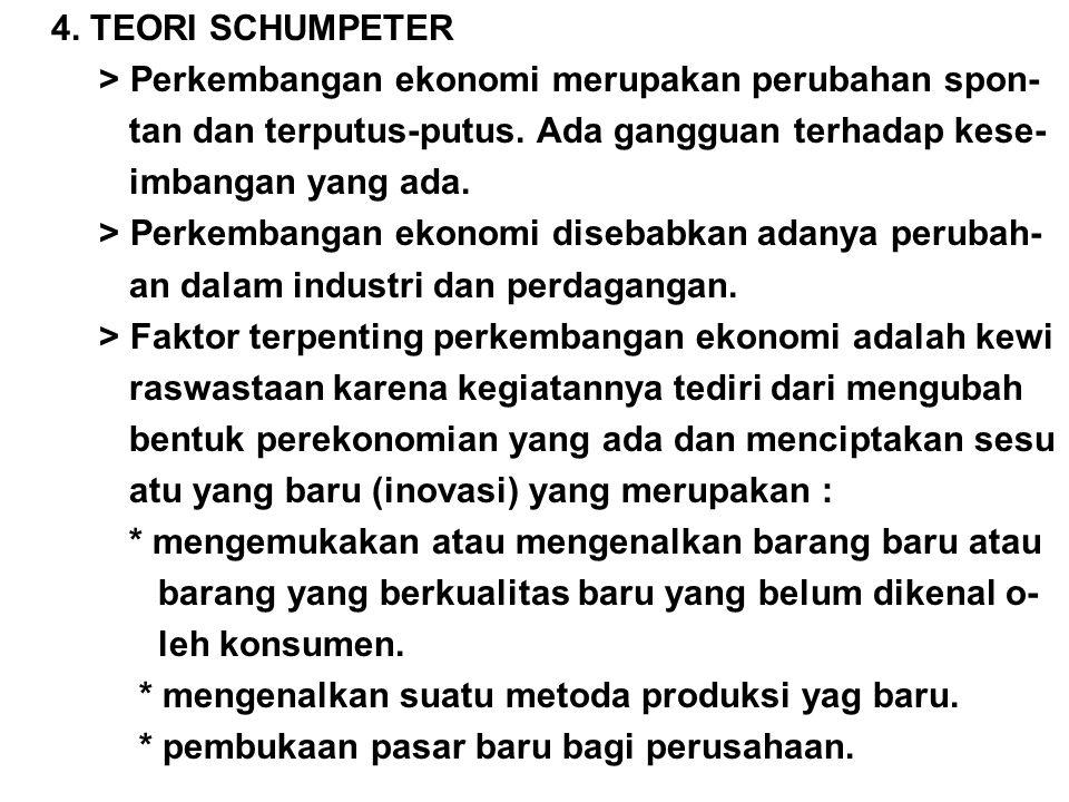 4. TEORI SCHUMPETER > Perkembangan ekonomi merupakan perubahan spon- tan dan terputus-putus. Ada gangguan terhadap kese-