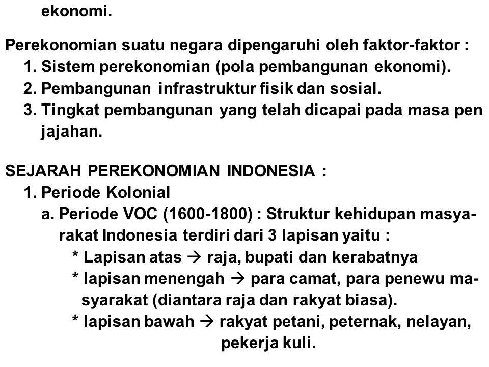 ekonomi. Perekonomian suatu negara dipengaruhi oleh faktor-faktor : 1. Sistem perekonomian (pola pembangunan ekonomi).