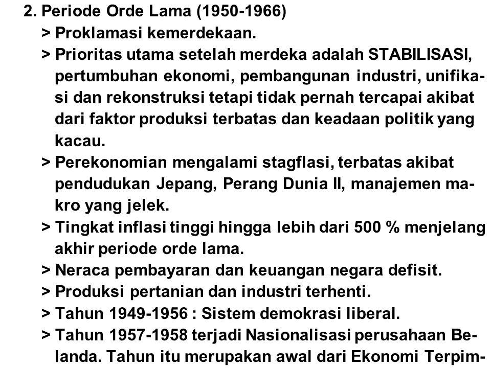 2. Periode Orde Lama (1950-1966) > Proklamasi kemerdekaan. > Prioritas utama setelah merdeka adalah STABILISASI,
