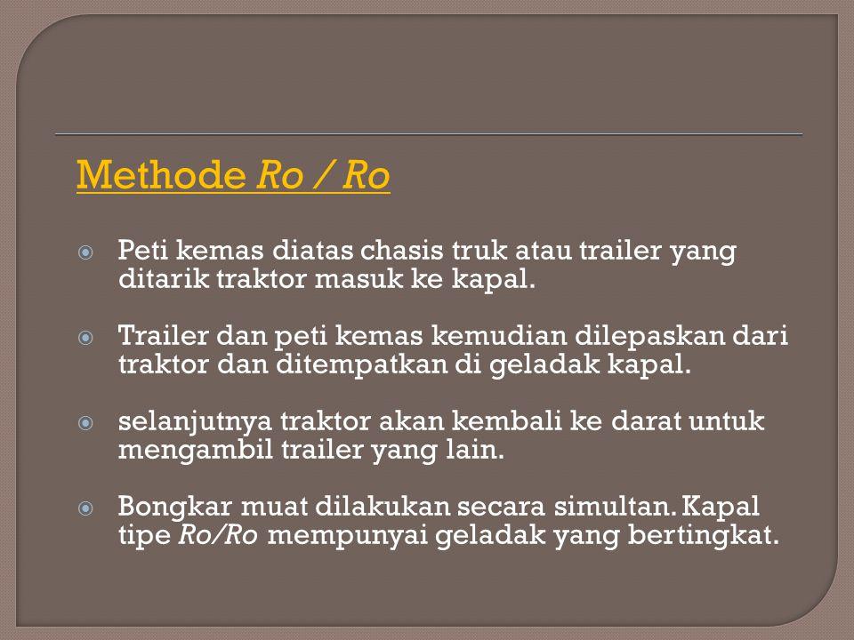 Methode Ro / Ro Peti kemas diatas chasis truk atau trailer yang ditarik traktor masuk ke kapal.