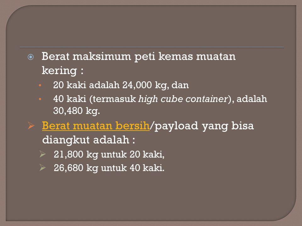 Berat maksimum peti kemas muatan kering :
