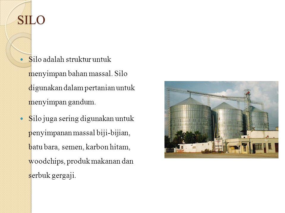SILO Silo adalah struktur untuk menyimpan bahan massal. Silo digunakan dalam pertanian untuk menyimpan gandum.