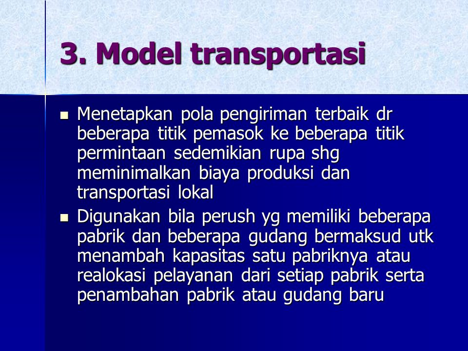 3. Model transportasi
