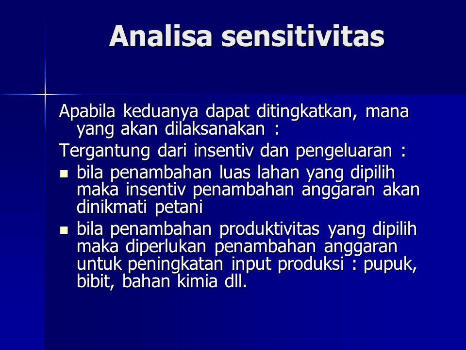 Analisa sensitivitas Apabila keduanya dapat ditingkatkan, mana yang akan dilaksanakan : Tergantung dari insentiv dan pengeluaran :