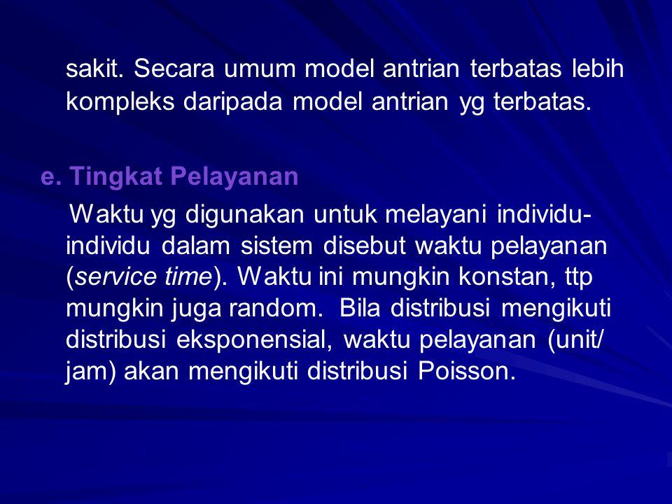 sakit. Secara umum model antrian terbatas lebih kompleks daripada model antrian yg terbatas.