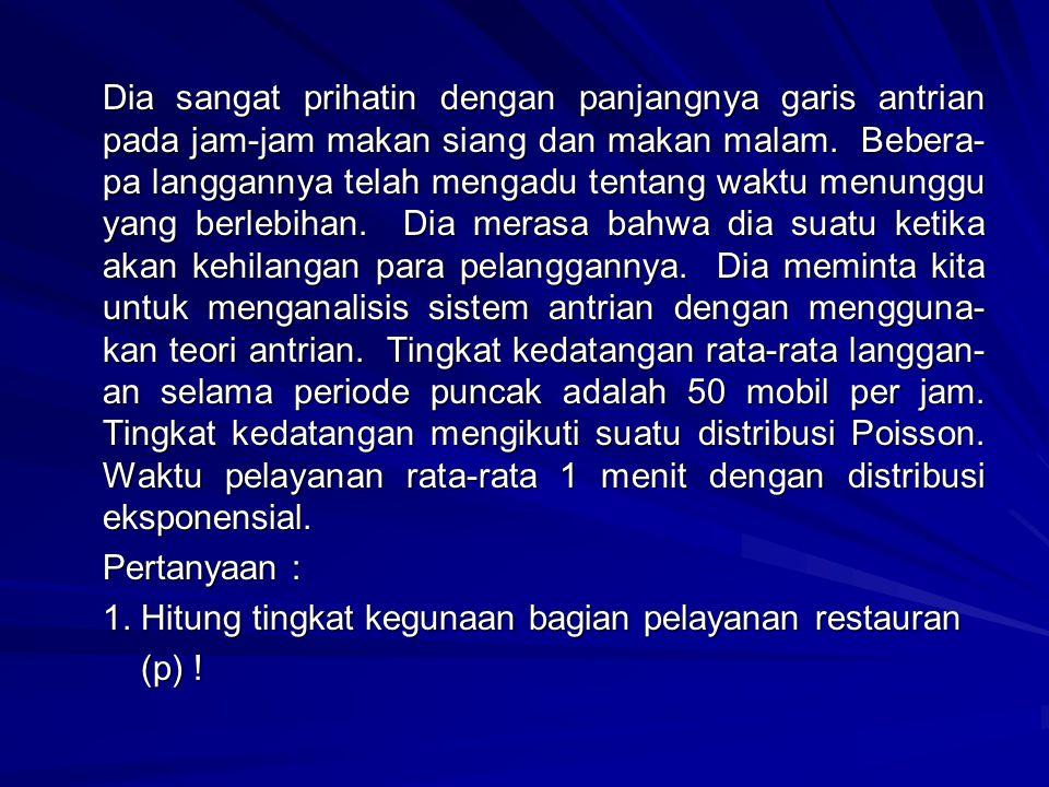 1. Hitung tingkat kegunaan bagian pelayanan restauran (p) !