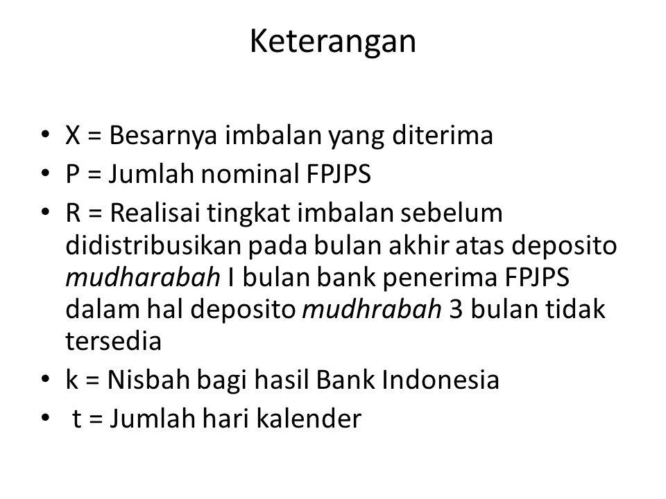 Keterangan X = Besarnya imbalan yang diterima P = Jumlah nominal FPJPS