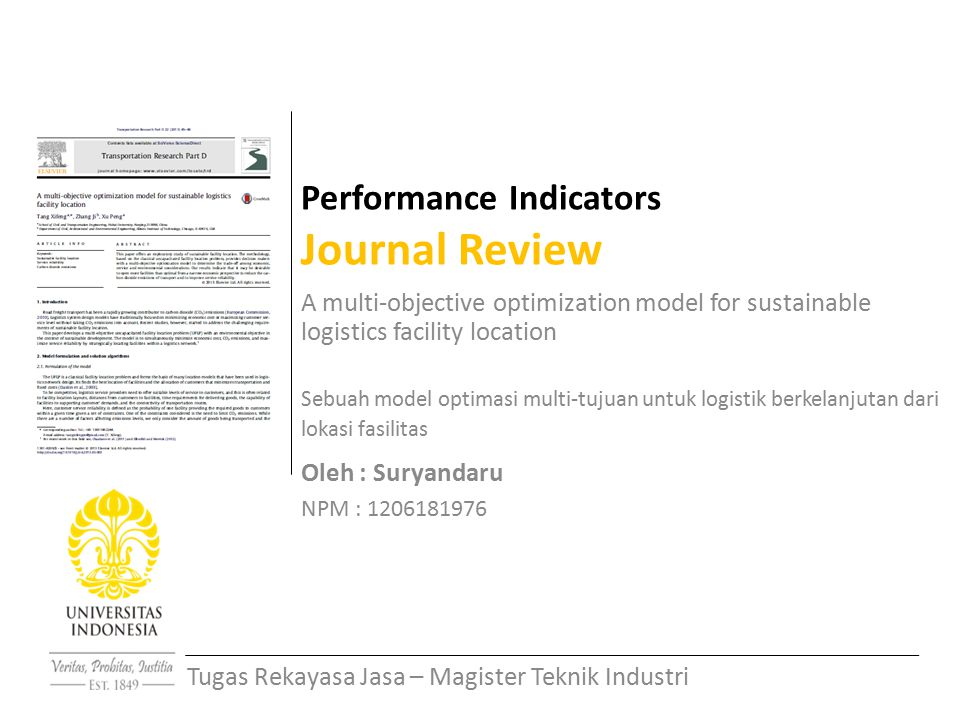 Performance Indicators Journal Review