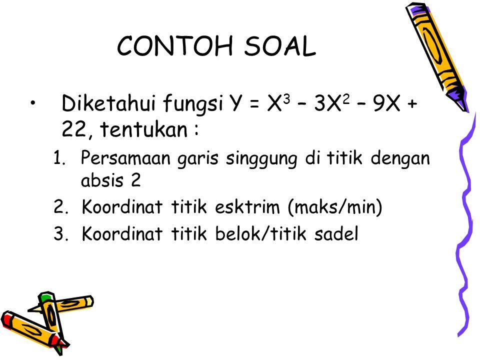 CONTOH SOAL Diketahui fungsi Y = X3 – 3X2 – 9X + 22, tentukan :