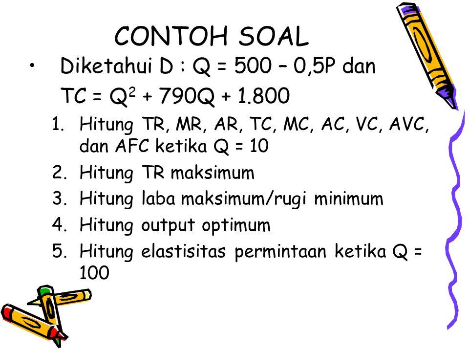CONTOH SOAL Diketahui D : Q = 500 – 0,5P dan TC = Q2 + 790Q + 1.800