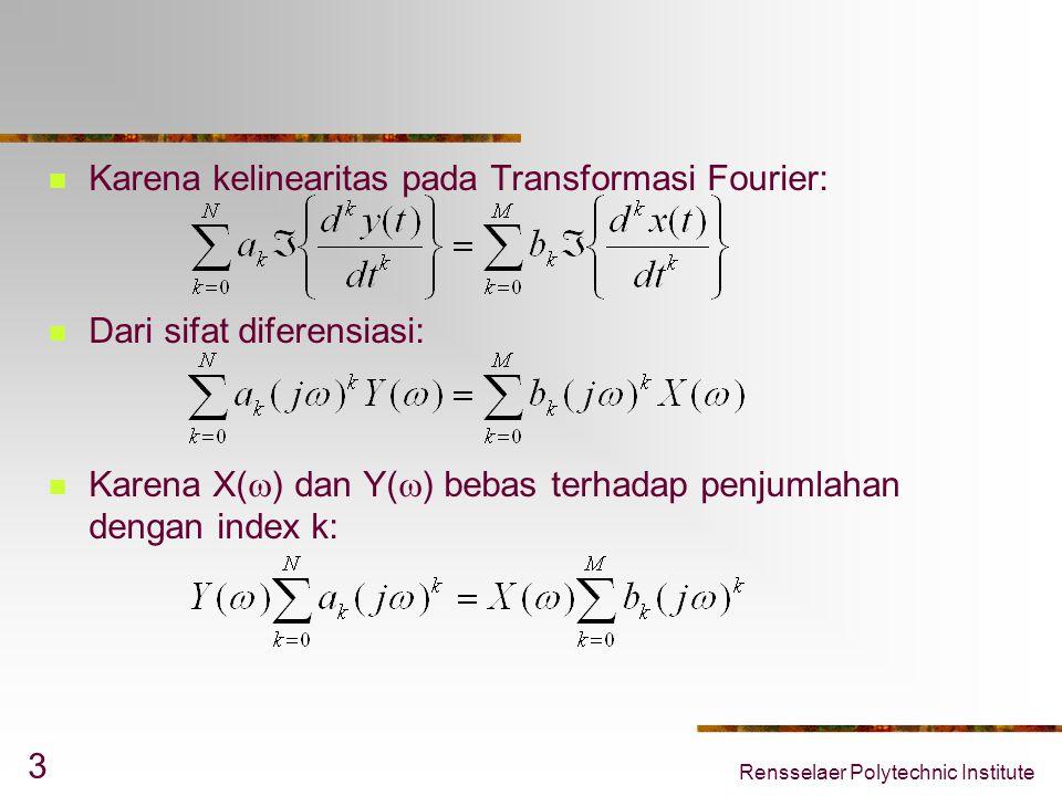 Karena kelinearitas pada Transformasi Fourier: