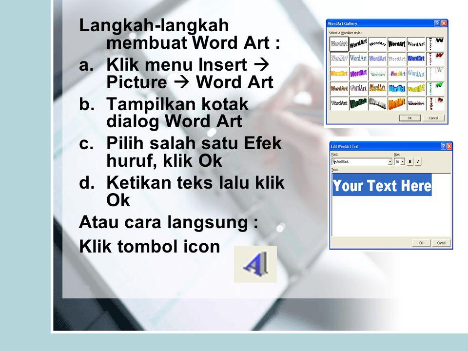 Langkah-langkah membuat Word Art :