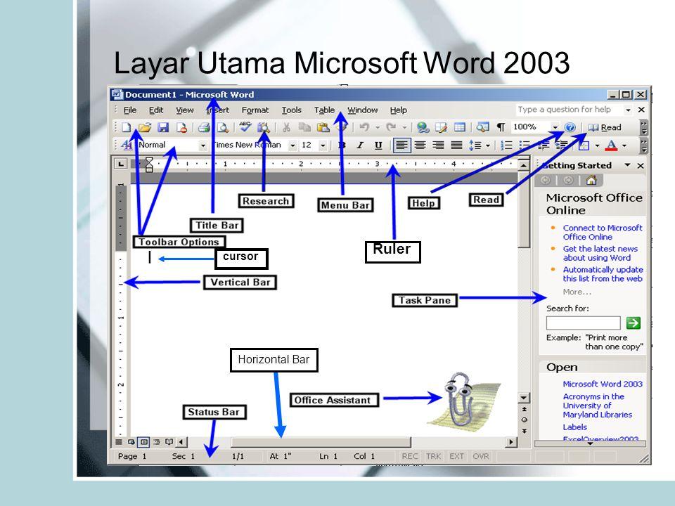 Layar Utama Microsoft Word 2003