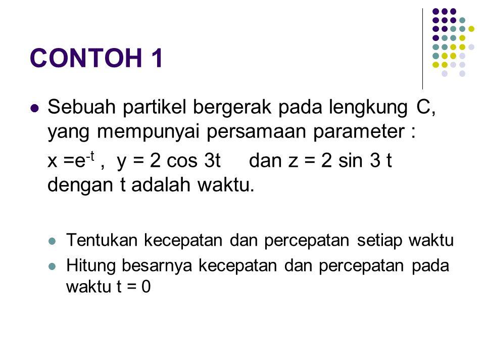 CONTOH 1 Sebuah partikel bergerak pada lengkung C, yang mempunyai persamaan parameter :