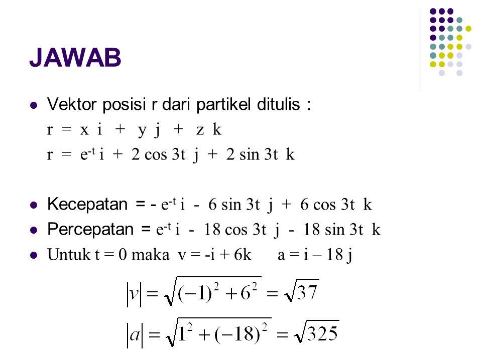 JAWAB Vektor posisi r dari partikel ditulis : r = x i + y j + z k