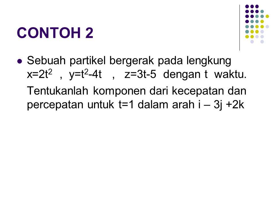 CONTOH 2 Sebuah partikel bergerak pada lengkung x=2t2 , y=t2-4t , z=3t-5 dengan t waktu.
