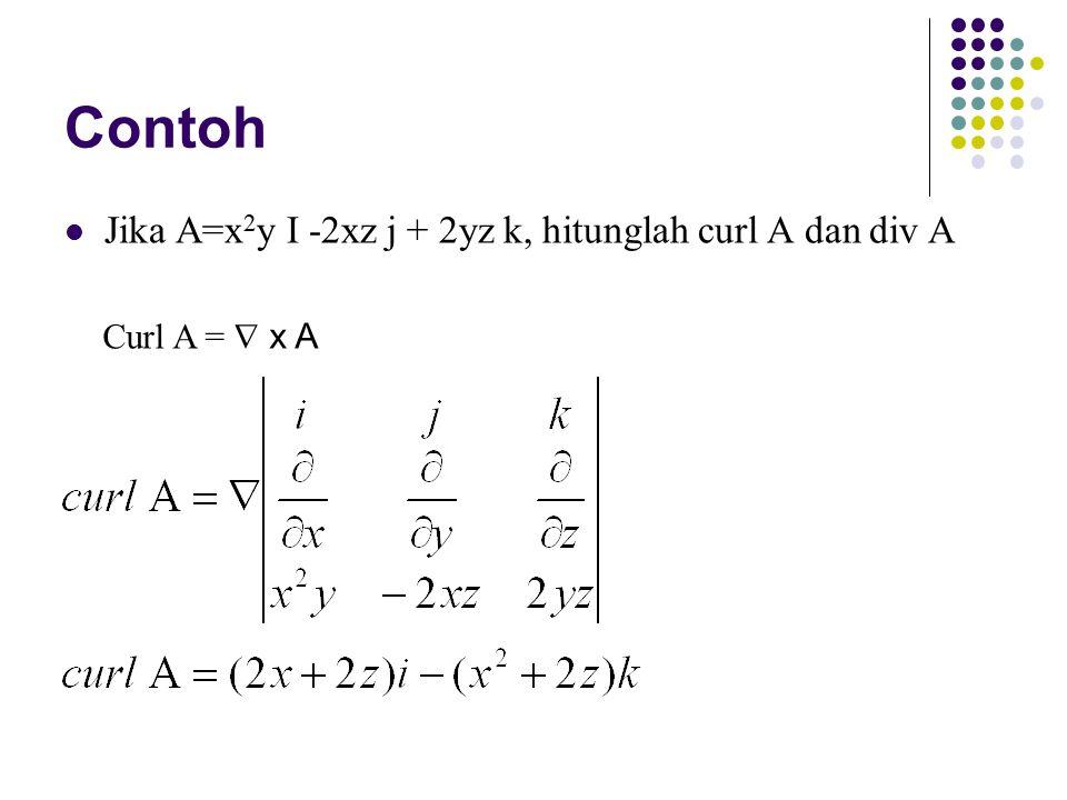 Contoh Jika A=x2y I -2xz j + 2yz k, hitunglah curl A dan div A