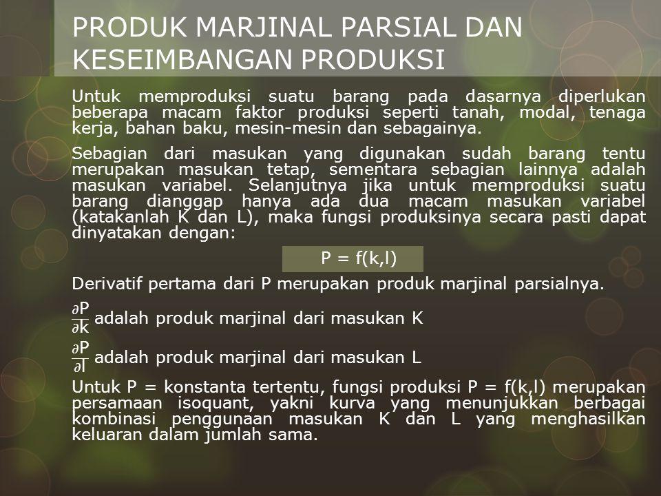 PRODUK MARJINAL PARSIAL DAN KESEIMBANGAN PRODUKSI