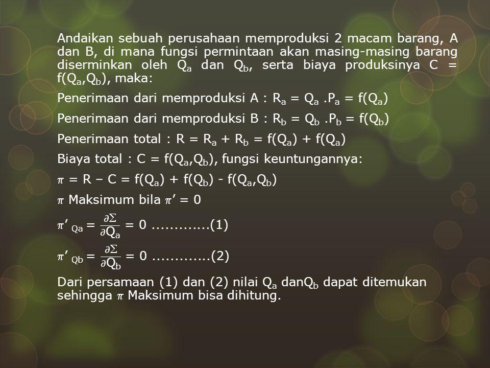 Andaikan sebuah perusahaan memproduksi 2 macam barang, A dan B, di mana fungsi permintaan akan masing-masing barang diserminkan oleh Qa dan Qb, serta biaya produksinya C = f(Qa,Qb), maka: Penerimaan dari memproduksi A : Ra = Qa .Pa = f(Qa) Penerimaan dari memproduksi B : Rb = Qb .Pb = f(Qb) Penerimaan total : R = Ra + Rb = f(Qa) + f(Qa) Biaya total : C = f(Qa,Qb), fungsi keuntungannya:  = R – C = f(Qa) + f(Qb) - f(Qa,Qb)  Maksimum bila ' = 0 ' Qa = 𝜕 𝜕Qa = 0 .............(1) ' Qb = 𝜕 𝜕Qb = 0 .............(2) Dari persamaan (1) dan (2) nilai Qa danQb dapat ditemukan sehingga  Maksimum bisa dihitung.