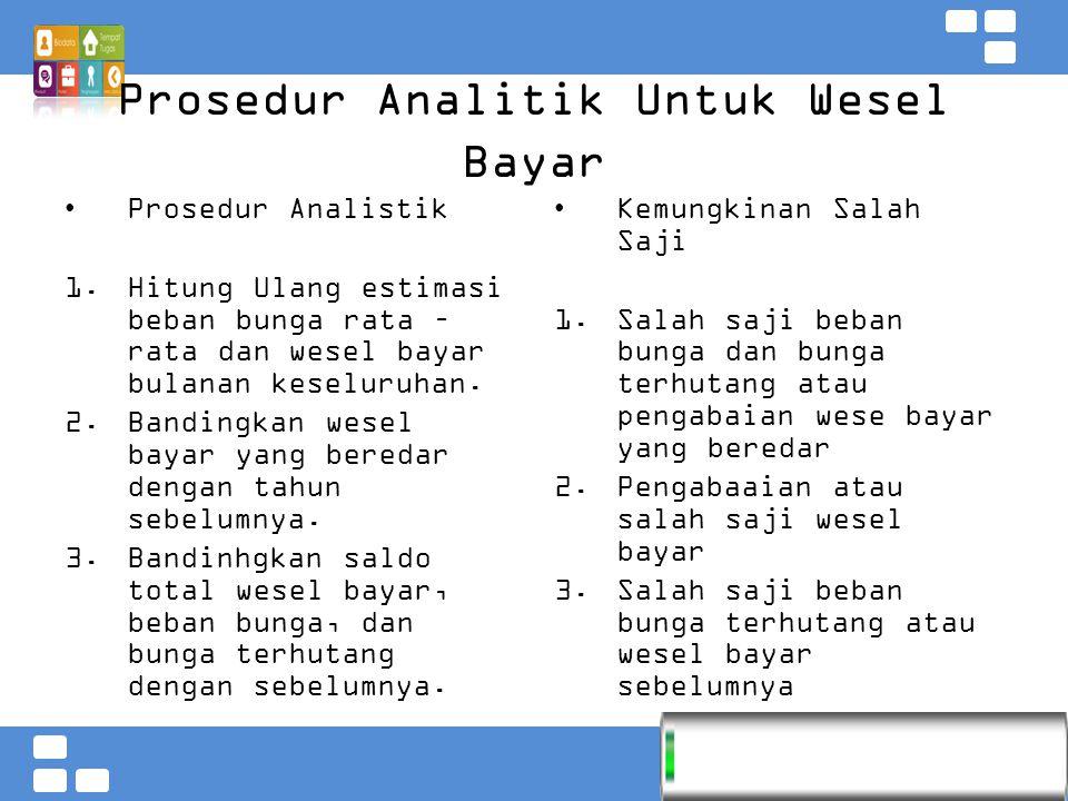 Prosedur Analitik Untuk Wesel Bayar