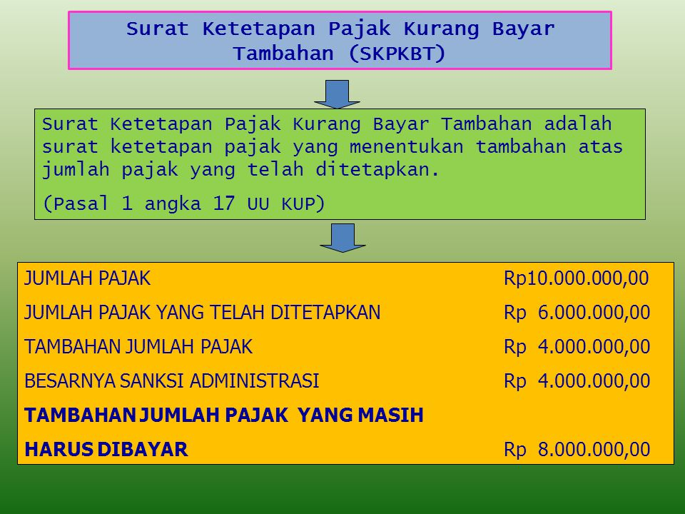 Surat Ketetapan Pajak Kurang Bayar Tambahan (SKPKBT)