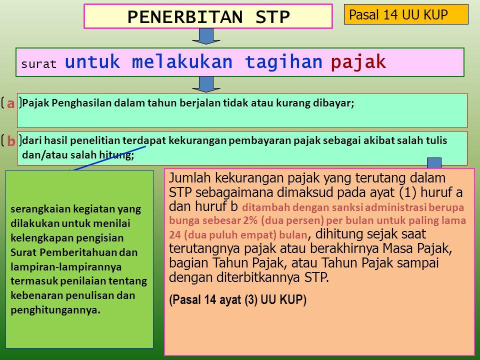 PENERBITAN STP Pasal 14 UU KUP a b