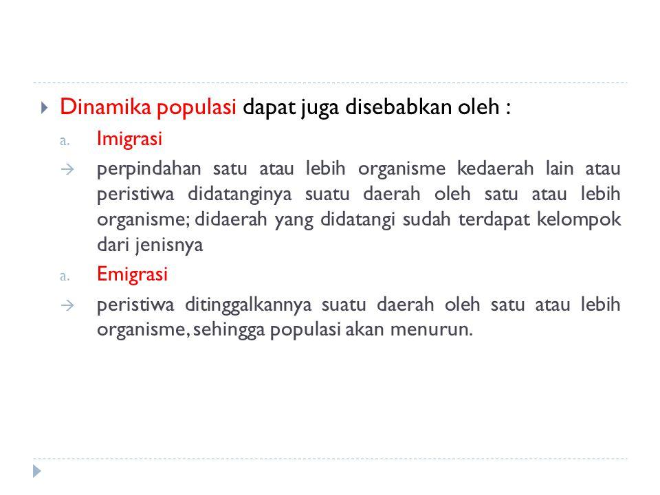 Dinamika populasi dapat juga disebabkan oleh :