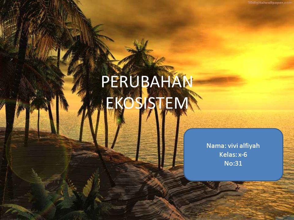 PERUBAHAN EKOSISTEM Nama: vivi alfiyah Kelas: x-6 No:31