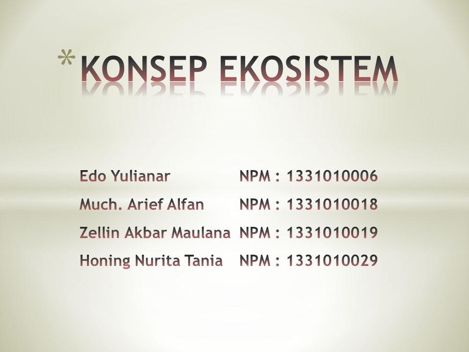 KONSEP EKOSISTEM Edo Yulianar. NPM : 1331010006 Much. Arief Alfan