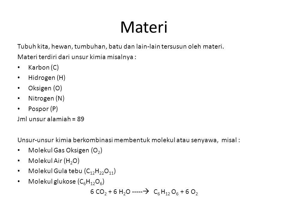 Materi Tubuh kita, hewan, tumbuhan, batu dan lain-lain tersusun oleh materi. Materi terdiri dari unsur kimia misalnya :