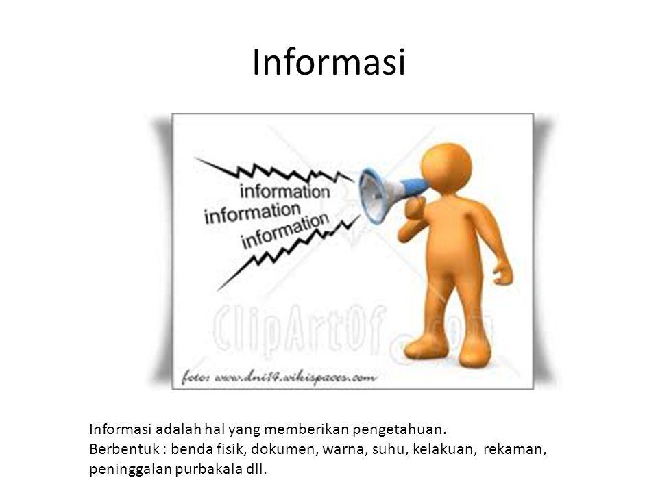 Informasi Informasi adalah hal yang memberikan pengetahuan.