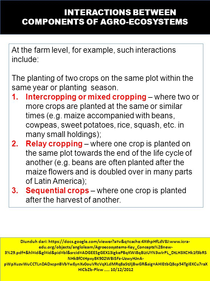 INTERACTIONS BETWEEN COMPONENTS OF AGRO-ECOSYSTEMS