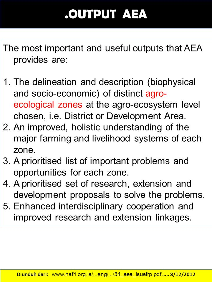 .OUTPUT AEA The most important and useful outputs that AEA provides are: