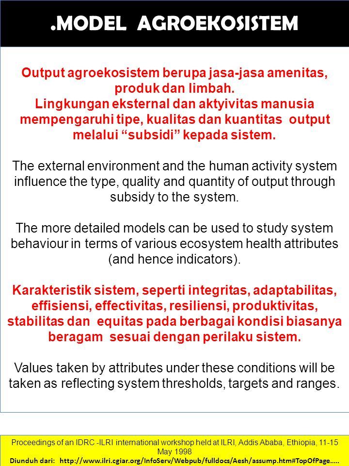 Output agroekosistem berupa jasa-jasa amenitas, produk dan limbah.