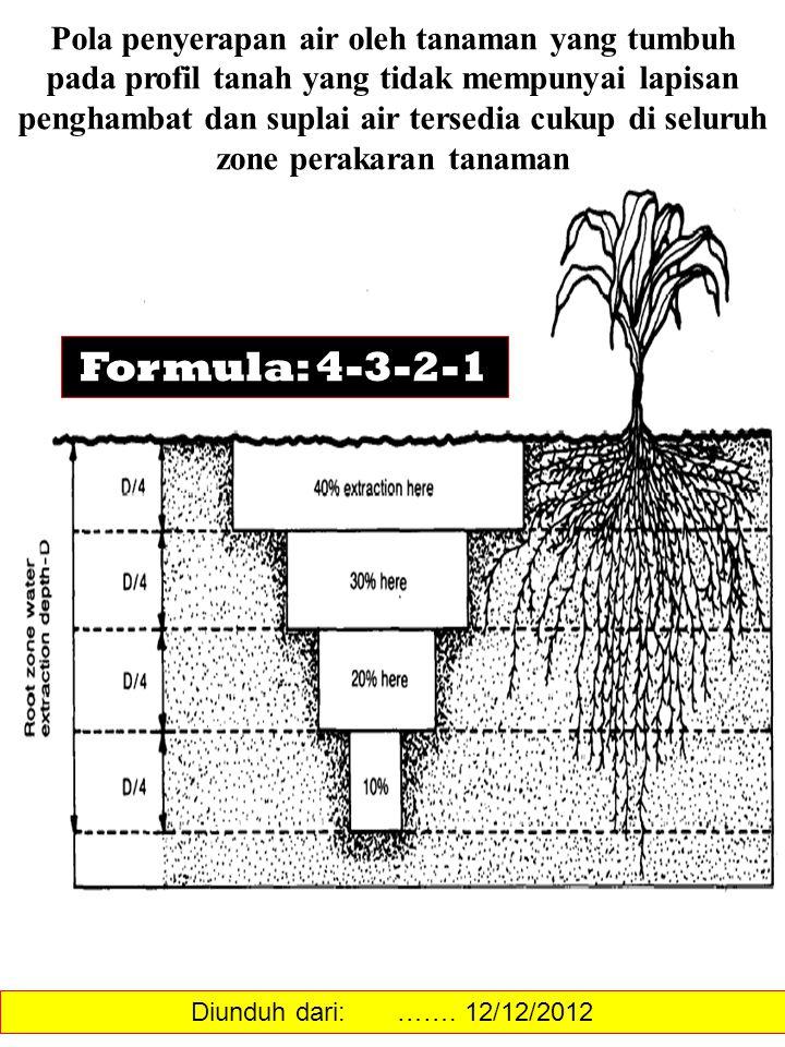 Pola penyerapan air oleh tanaman yang tumbuh pada profil tanah yang tidak mempunyai lapisan penghambat dan suplai air tersedia cukup di seluruh zone perakaran tanaman