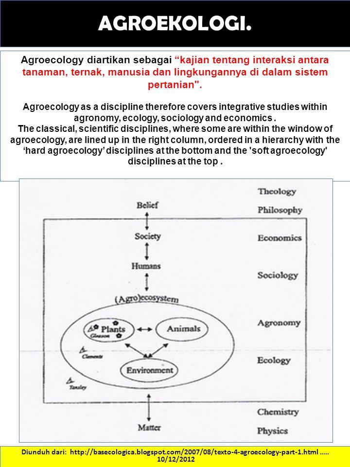 AGROEKOLOGI. Agroecology diartikan sebagai kajian tentang interaksi antara tanaman, ternak, manusia dan lingkungannya di dalam sistem pertanian .