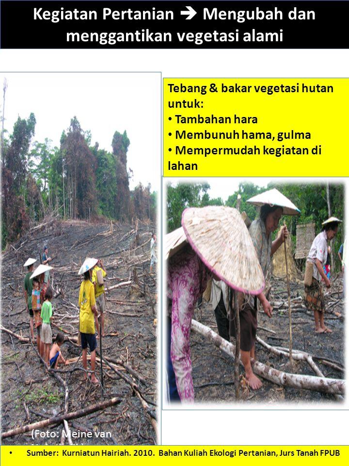 Kegiatan Pertanian  Mengubah dan menggantikan vegetasi alami