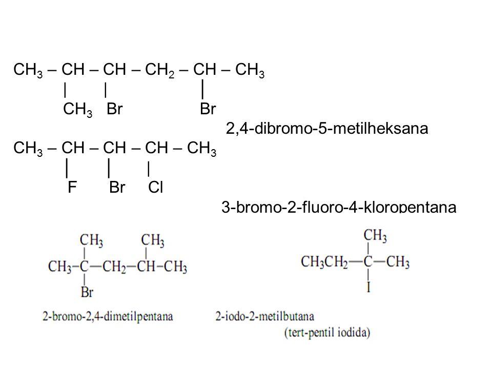 CH3 – CH – CH – CH2 – CH – CH3 | | │ CH3 Br Br. 2,4-dibromo-5-metilheksana.