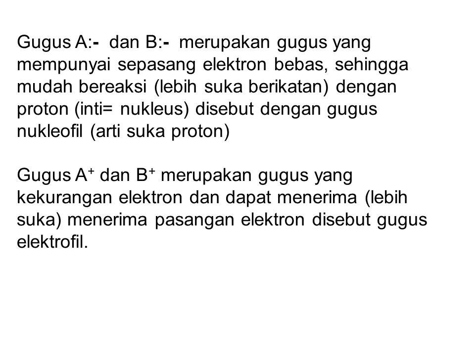 Gugus A:- dan B:- merupakan gugus yang mempunyai sepasang elektron bebas, sehingga mudah bereaksi (lebih suka berikatan) dengan proton (inti= nukleus) disebut dengan gugus nukleofil (arti suka proton)