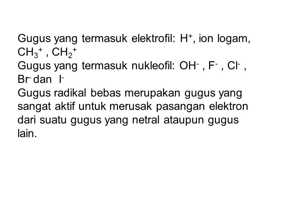Gugus yang termasuk elektrofil: H+, ion logam, CH3+ , CH2+