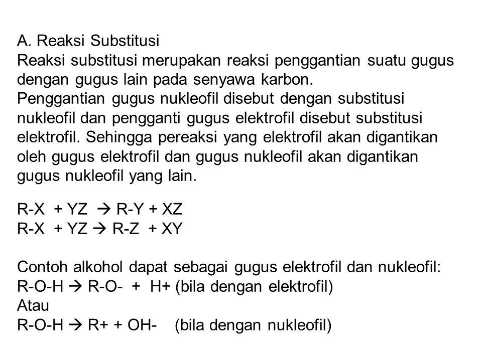 A. Reaksi Substitusi Reaksi substitusi merupakan reaksi penggantian suatu gugus dengan gugus lain pada senyawa karbon.