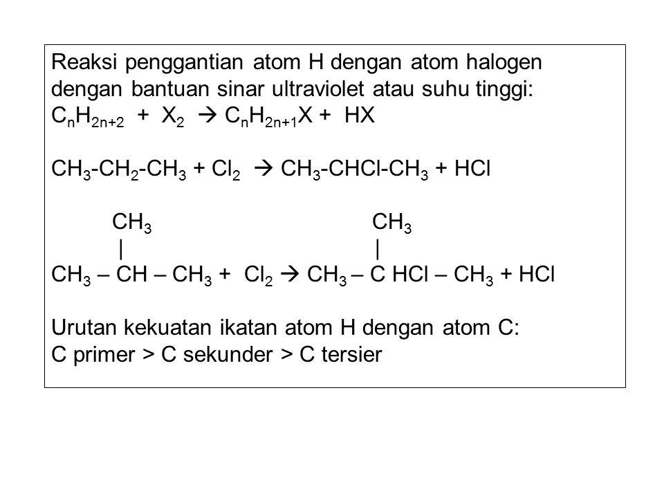Reaksi penggantian atom H dengan atom halogen dengan bantuan sinar ultraviolet atau suhu tinggi: