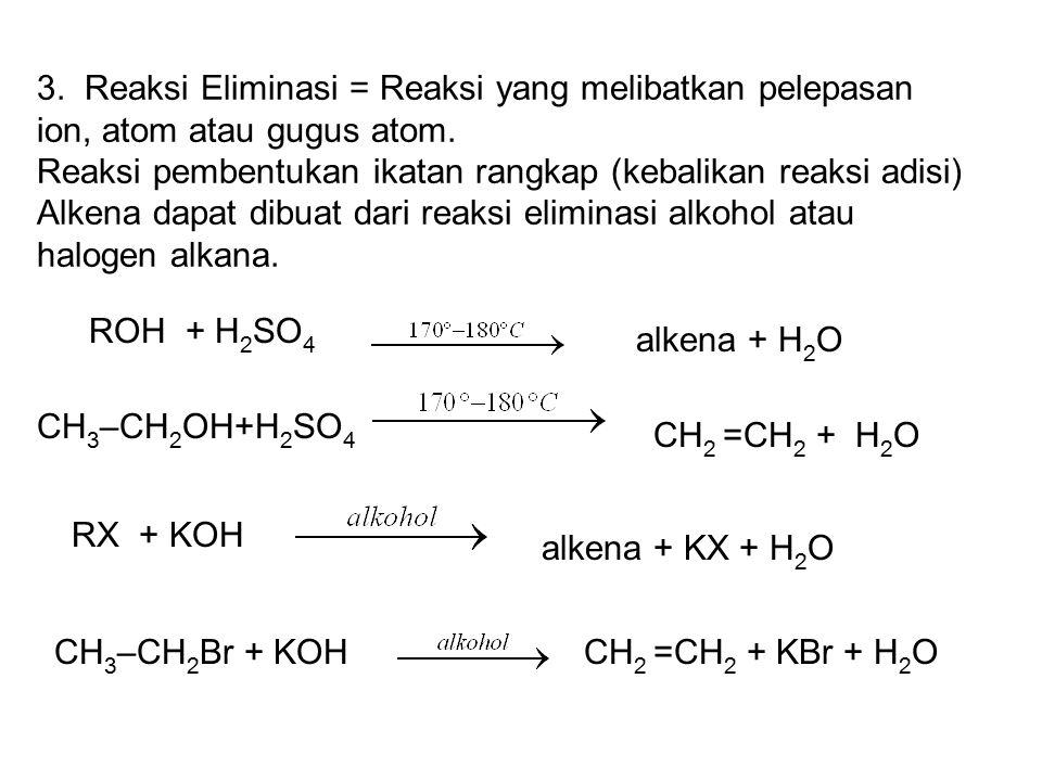 3. Reaksi Eliminasi = Reaksi yang melibatkan pelepasan ion, atom atau gugus atom.